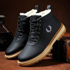 【加绒加厚】冬季保暖雪地靴男皮面棉鞋防水防滑韩版潮