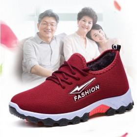 冬季韩版登山运动鞋女加绒保暖防滑妈妈棉鞋中老年一脚