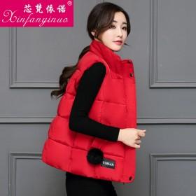韩版短款棉马甲背心女时尚开衫秋冬羽绒棉衣棉服外套