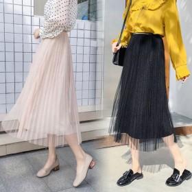2019春上新韩版高腰中长款仙女网纱半身裙
