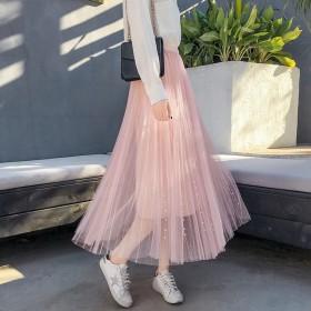 春上新高腰网纱半身裙中长款港味钉珠软妹仙女百褶裙
