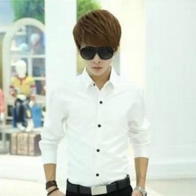 2018男士长袖衬衫男式款青少年韩版修身职业商务衬