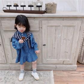 儿童牛仔连衣裙长袖荷叶边韩版直通裙
