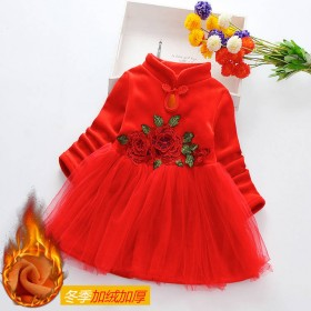 女童冬季加绒加厚连衣裙中国风旗袍儿童汉服新年洋气