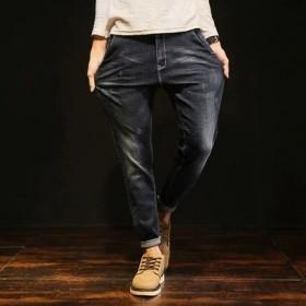 男式牛仔裤宽松大码BF风秋款小脚哈伦裤