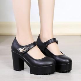新款真皮旗袍走秀鞋粗跟魔术贴舒适圆头厚底模特高跟鞋
