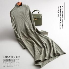 秋冬羊毛半高领长袖高腰打底针织中长裙连衣裙女