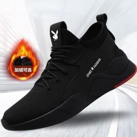 新款冬季男鞋运动休闲鞋加绒棉鞋皮面防水防滑鞋