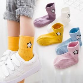5双装棉质儿童袜子秋冬款男童女童大童加厚中筒袜0-