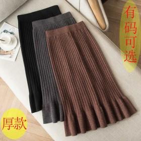 冬厚款毛线鱼尾一步裙秋冬高腰百搭中长款针织包臀裙