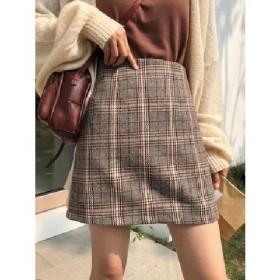 复古格子高腰半身裙女秋冬季毛呢新款百搭包臀裙子