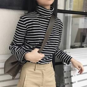 2018秋冬女装韩版条纹长袖T恤女高领加绒打底衫女