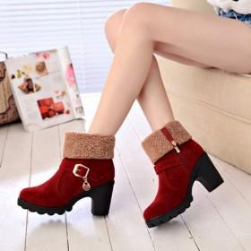 2019新款女鞋短靴瘦瘦小跟粗跟百搭水台跟女式英伦