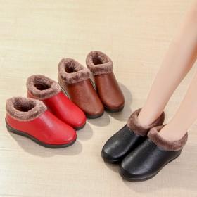 棉鞋女冬家居妈妈鞋加绒加厚棉鞋PU面防水防滑