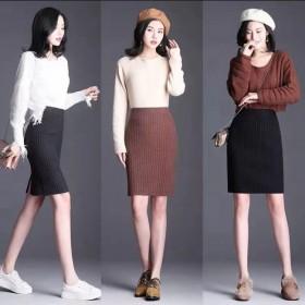 春秋款开叉针织半身裙包臂一步裙新款显瘦毛线短裙
