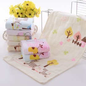 儿童纯棉双层卡通印花纱布小毛巾幼儿园小孩面巾柔软吸