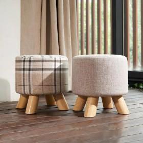 北欧小木凳实木布艺小凳子圆矮凳家用成人儿童换鞋凳
