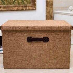 棉麻布艺装衣服可折叠有盖储物箱内衣收纳盒