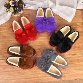 兔耳朵毛毛女鞋新款冬季棉鞋居家保暖加绒外穿孕妇鞋子