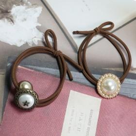 韩国优雅小香风花朵珍珠发绳复古古铜五角星打结皮筋