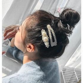 2个装 韩国ins珍珠发夹少女卡子bb夹边夹一字夹