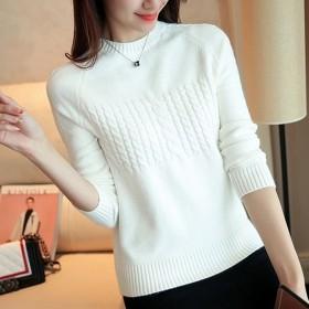 毛衣女新款秋冬圆领短款韩版宽松小款针织衫长袖T恤套