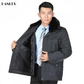 京东新款加厚毛领外套中老年秋冬厚款爸爸夹克全脱卸时