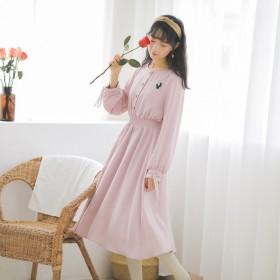 春季新款甜美刺绣雪纺连衣裙长袖中长款文艺仙女裙