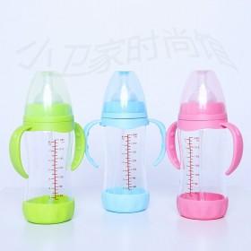 晶钻玻璃宽口径带手柄吸管奶瓶新生儿0—6—12