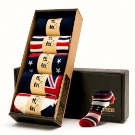 【套餐】五双成人礼盒装船袜条纹海军英伦风
