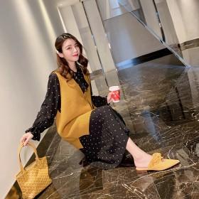 波点长袖连衣裙秋春季女2019新款高腰显瘦中长款百