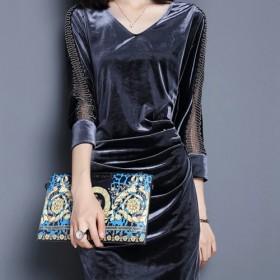 女装连衣裙秋冬复古时尚丝绒拼接V领中长款收腰包臀连