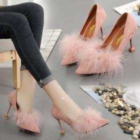 法式少女高跟鞋女送闺蜜秋冬细跟性感粉色带有跟的毛毛
