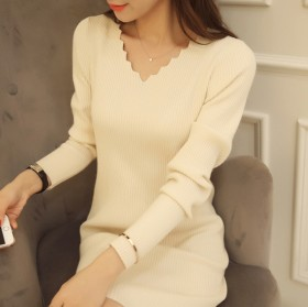 韩版v领针织修身显瘦中长款套头百搭打底衫长袖连衣裙