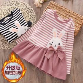加绒女童新款儿童宝宝保暖打底衫连衣裙
