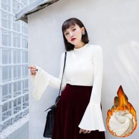 2018秋冬新款韩版修身长袖套头T恤女喇叭袖长袖