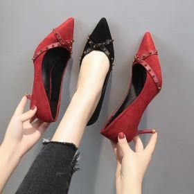 高跟鞋女细跟单鞋尖头中跟春季