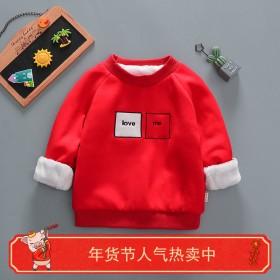儿童女童男童学生加绒加厚卫衣宝宝小童打底衫外套