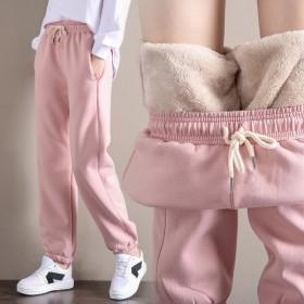 加绒运动裤女韩版宽松外穿加厚仿羊羔绒卫裤休闲裤