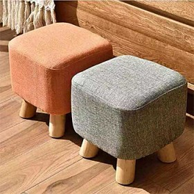 北欧小凳子家用成人客厅矮凳实木布艺方形小木凳儿童换
