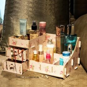 创意木质大号桌面收纳盒首饰盒化妆品收纳盒抽屉式家居