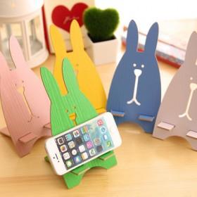 时尚创意手机座 可爱兔子木质手机木质底座 手机