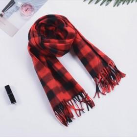 春季新款儿童双面绒格子围巾成人围脖只有红色