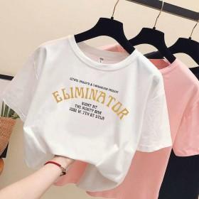 夏装韩版字母白色短袖t恤女学生百搭宽松半袖体恤原宿