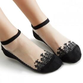 【包邮】 五双装春秋短袜船袜蕾丝水晶袜防滑女袜丝袜