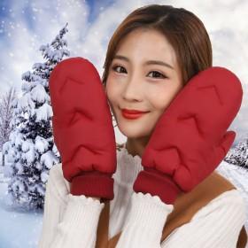羽绒手套男女款冬季加绒保暖加厚防水连指滑雪防风寒不