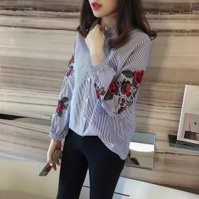 条纹衬衫女2018春装新款学生休闲T恤韩范宽松玫瑰