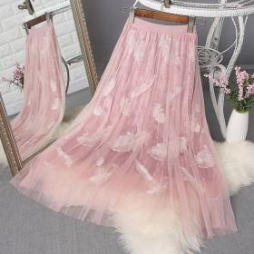 半身裙女四季可穿重工钉珠羽毛刺绣三层面料网纱百褶