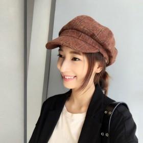 贝雷帽子女春季新款英伦风日系休闲百搭韩版格子毛呢