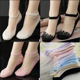 8双装 袜子女薄款透明玻璃丝水晶丝袜短袜隐形袜女士